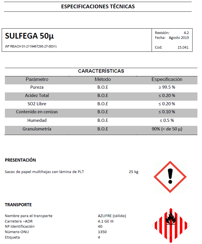Sulfega 50 micras - Productos AJF