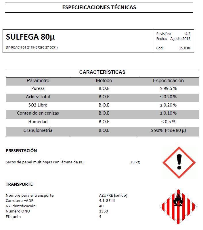 Sulfega 80 micras - Productos AJF