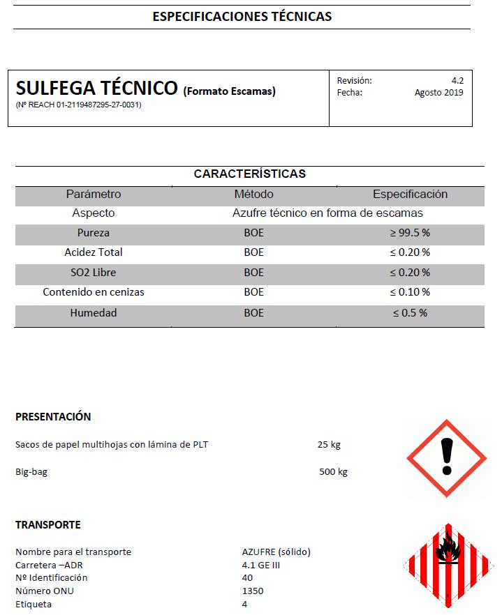 Sulfega técnico escamas - Productos AJF