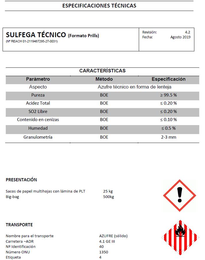 Sulfega técnico prill - Productos AJF