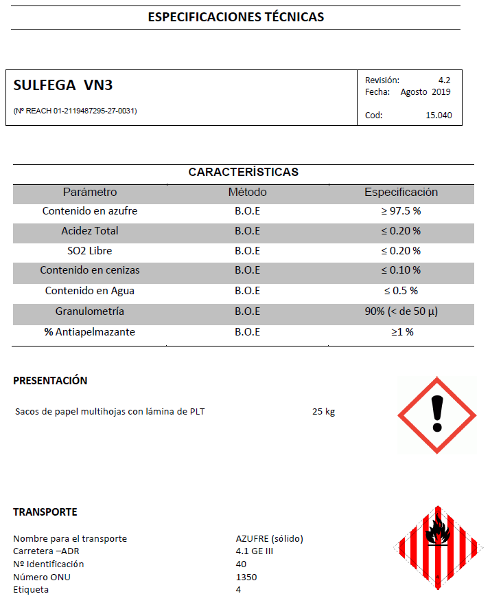 Sulfega VN3 - Productos AJF