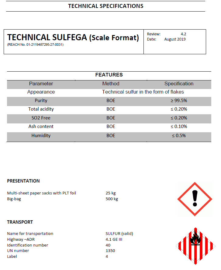Sulfega technical scales - Productos AJF